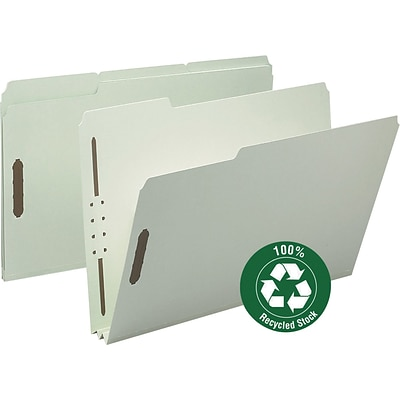 Smead® 100% Recycled Pressboard 3-Tab File Folders, 2-Fasteners, 2 Expansion, Legal, Gray/Green, 25/Bx (20004)