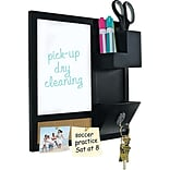 MasterVision® 16H x 16W x 3(D) Combo Dry Erase and Cork Station W/Storage, Black Frame