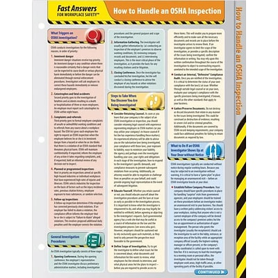 ComplyRight™ Fast Answers for Workplace Safety™ Reference Cards; OSHA Inspection