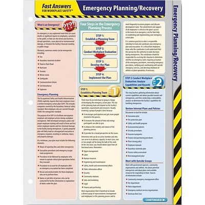 ComplyRight™ Fast Answers for Workplace Safety™ Reference Cards; Emergency Planning/Recovery