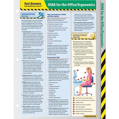 ComplyRight™ Fast Answers for Workplace Safety™ Reference Cards; OSHA for the Office/Ergonomics
