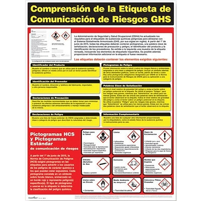 ComplyRight™ Hazardous Material Posters; Understanding GHS Hazard Communication Labeling, Spanish