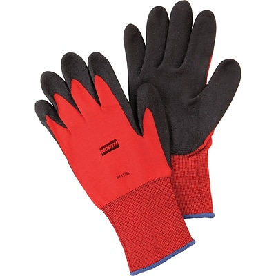 North® Flex Red™ Coated Gloves, PVC, Knit-Wrist Cuff, M Size, Red/Black, 12 Pair/Box