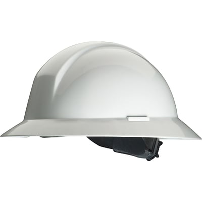 North® Slotted Everest Hard Hats; HDPE, 6 Point Full Brim, Ratchet, White
