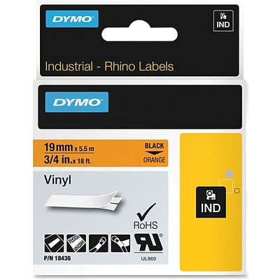 Dymo® Industrial Rhino Labels, Vinyl, 3/4, Black on Orange