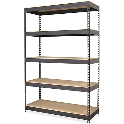 Lorell Riveted Steel Shelving, Black, 72