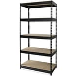 Lorell Riveted Steel Shelving, Black, 72 x 36 x 16