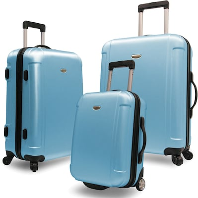 Traveler's Choice(r) Tc2400 Freedom 3 Piece Hard Shell Spin/rolling Travel Luggage Set, Arctic Blue