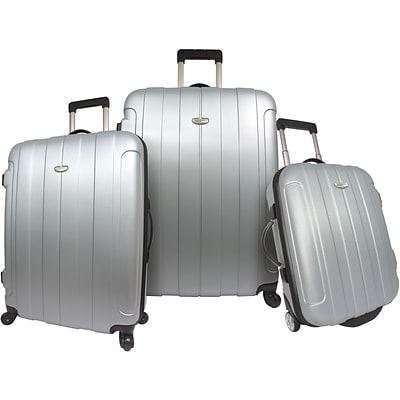 Travelers Choice® TC3900 Rome 3-Piece Hard-Shell Spin/Rolling Luggage Set, Silver