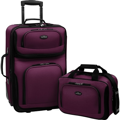 U.S.® Traveler US5600 Rio 2-Piece Expandable Carry-On Luggage Set, Purple