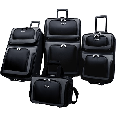 U.S.® Traveler US6300 New Yorker 4-Piece Luggage Set, Black