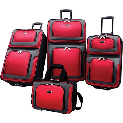 U.S.® Traveler US6300 New Yorker 4-Piece Luggage Set, Red