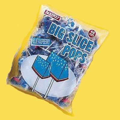 Big Slice Blue Raspberry Pops; 48 Lollipops/Bag