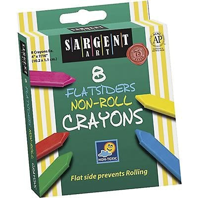 Sargent Art® Flatsiders Non-Roll Crayons, 8/Box