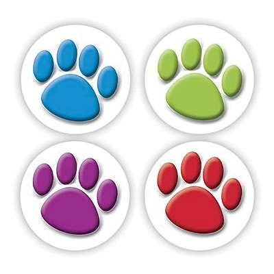 Teacher Created Resources Stickers, Colorful Paw Prints