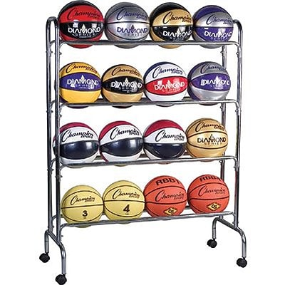 Champion Sports® Portable Ball Rack, 4 Tier