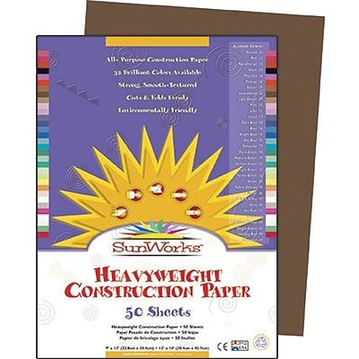 SunWorks® Construction Paper, 9x12, Dark Brown, 50 Sheets