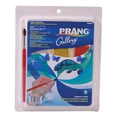 Prang Gallery Tempera Cake Set, 9 Colors with Brush (DIX80900)