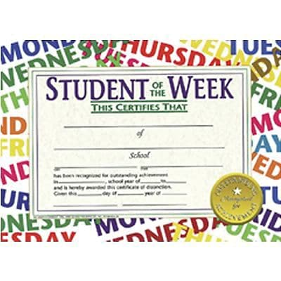 Hayes Student of the Week Certificate, 8.5 x 11, Pack of 30 (H-VA529)