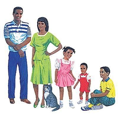 African-American Family Flannelboard Set Pre-cut