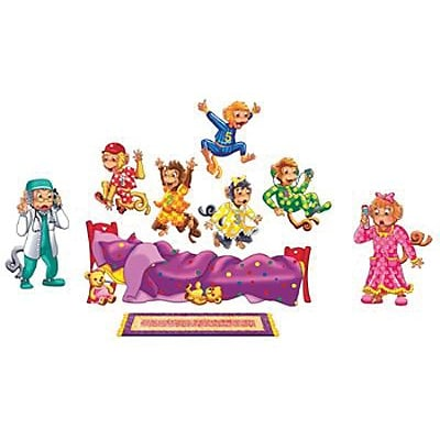 5 Monkeys Jumping on the Bed Bilingual Rhyme Pre-Cut Flannelboard Set, 9 Pieces