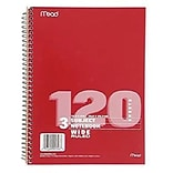 Mead® Spiral 3 Subject Notebook; Wide Ruled