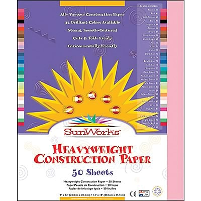 SunWorks® Construction Paper, 9x12, Pink, 50 Sheets