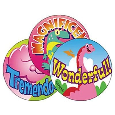 Trend® Stinky Stickers®, Large Round, Dino Fun Scented (Strawberry)