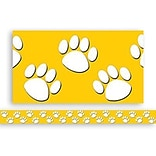 Gold With White Paw Prints Border Trim