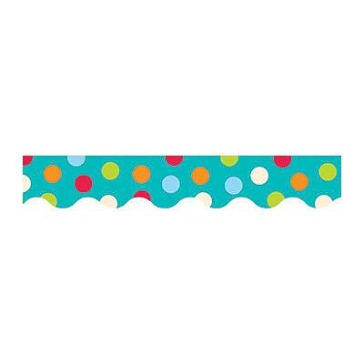 Creative Teaching Press Scalloped Dots on Turquoise Border, 35 x 2.25, Multicolor (CTP1038) 6 EA/BD