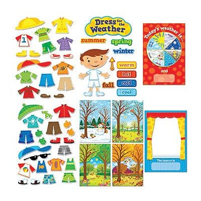 Assorted Publishers Dress for the Weather Bulletin Board Set, 57 pieces (CTP1640)