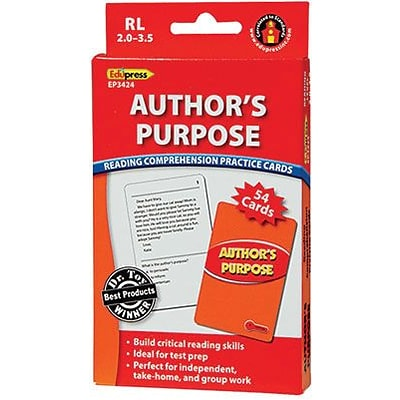 Authors Purpose Reading Comprehension Practice Cards, Red Level (RL 2.0-3.5)