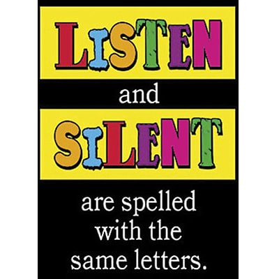 Trend® Educational Classroom Posters, Listen and silent are spelled with…