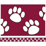 Maroon w/White Paw Prints Straight Trimmer