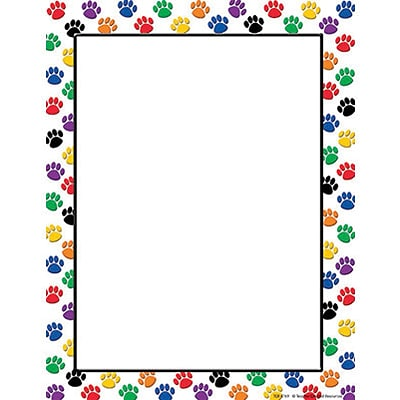 Teacher Created Resources Computer Paper, Colorful Paw Prints, 11 x 8.5, Red/White (TCR4769)