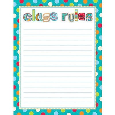 Creative Teaching Press™ Chart, Dots on Turquoise Class Rules