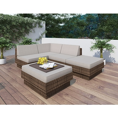Sonax® Park Terrace Resin Rattan Wicker 5 Piece Sectional Patio Sets; 5/Set