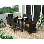 Sonax® Park Terrace UV Resistant Resin Wicker 7 Piece Patio Dining Set; River Rock Black, 7/Set