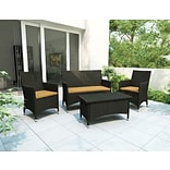 Sonax® Cascade Resin Rattan Wicker 4 Piece Patio Set; River Rock Black, 4/Set