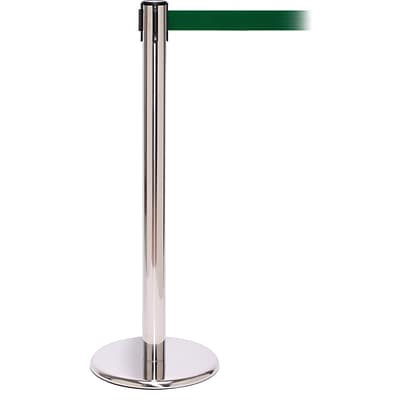QPro 250 Polished Stainless Steel Retractable Belt Barrier with 11 Green Belt