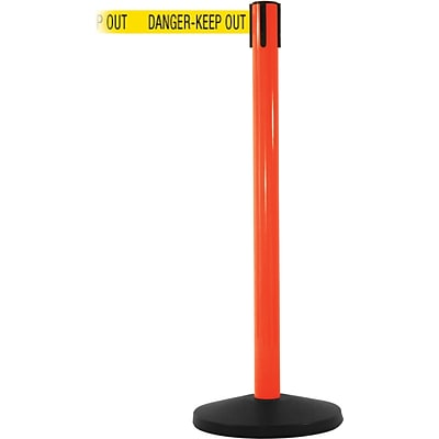 SafetyMaster 450 Orange Retractable Belt Barrier with 8.5 Yellow/Black DANGER Belt