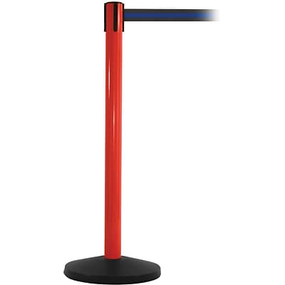 SafetyMaster 450 Red Retractable Belt Barrier with 8.5 Black/Blue Belt