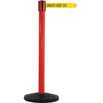 SafetyMaster 450 Red Retractable Belt Barrier with 8.5 Yellow/Black DANGER Belt