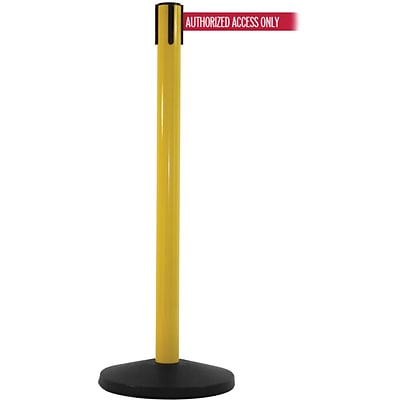 SafetyMaster 450 Yellow Retractable Belt Barrier with 8.5 Red/White AUTHORIZED Belt