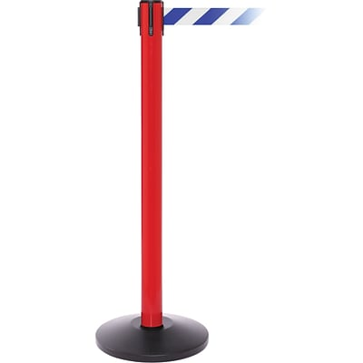 SafetyPro 250 Red Retractable Belt Barrier with 11 Blue/White Belt