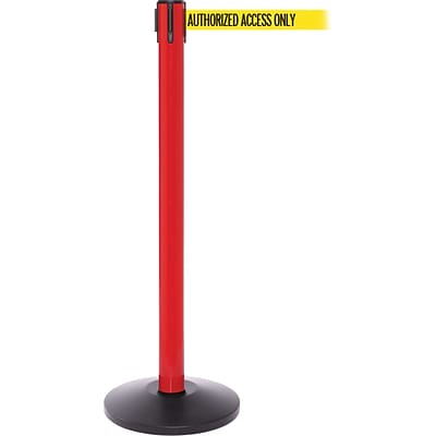 SafetyPro 250 Red Retractable Belt Barrier with 11 Yellow/Black AUTHORIZED Belt