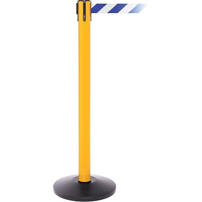 SafetyPro 250 Yellow Retractable Belt Barrier with 11 Blue/White Belt