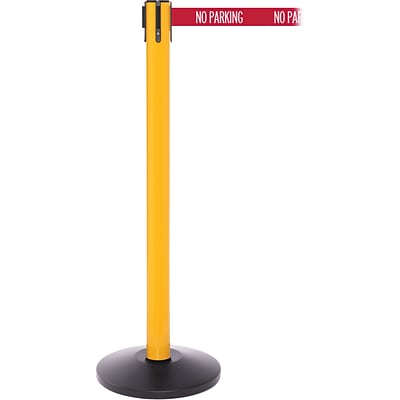 SafetyPro 250 Yellow Retractable Belt Barrier with 11 Red/White NO PARKING Belt