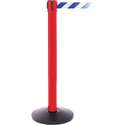SafetyPro 300 Red Retractable Belt Barrier with 16 Blue/White Belt
