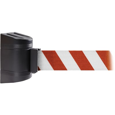WallPro 300 Black Wall Mount Belt Barrier with 13 Red/White Belt